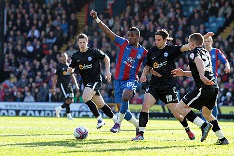 Target missed: George Boyd, seen challenging Wilfried Zaha when Peterborough visited Selhurst Park last season, has turned down Palace for Forest     SP63582