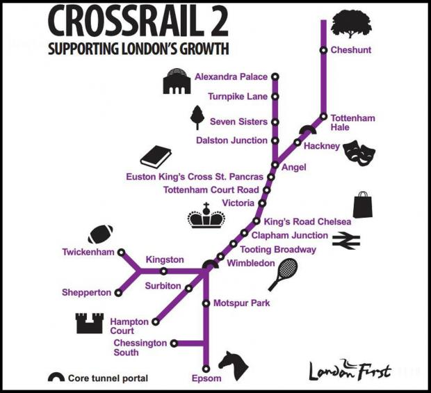 London First have proposed building Crossrail 2 with this proposed route
