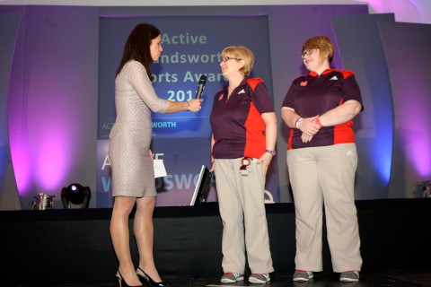Olympic volunteers Jayne Mitchell and Liz Gibson and Anna Hemmings