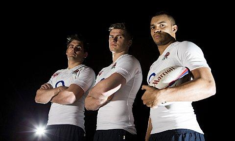 Happy to follow: (From left to right) England's Toby Flood, Owen Farrell and Jonathan Joseph