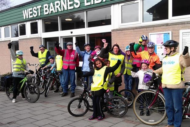 Cylists assemble outside West Barnes Library