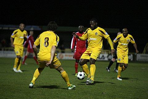 Double hitman: Craig Dundas had Sutton United 2-0 ahead before the excitement began     SP74515