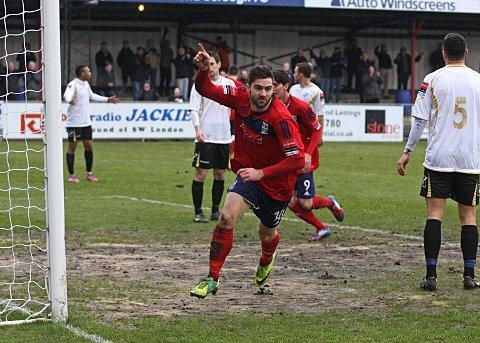 Hat-trick man: Ryan Moss bagged a 15-minute treble in the 5-0 trouncing of Bognor Regis on Tuesday night 	SP73018