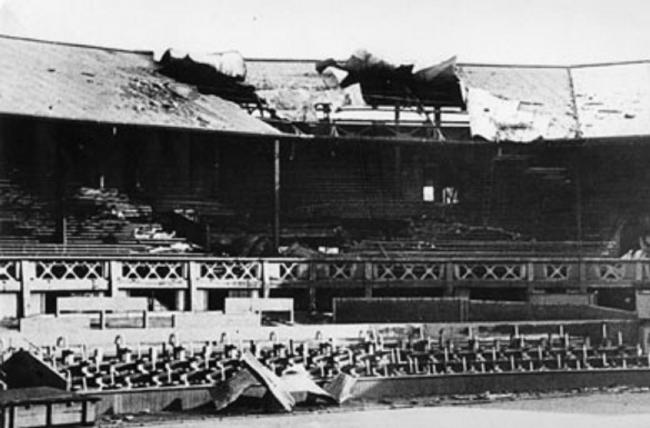 After that first day's bombing, Wimbledon would be hit many times over the coming months. Even the All England ground's Centre Court was severely damaged when five 500lb bombs destroyed the roof and 1200 empty seats.