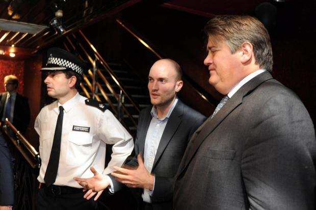 Wimbledon Times: Stephen Greenhalgh inside Oceana with borough commander Glenn Tunstall and club manager Dan Corry