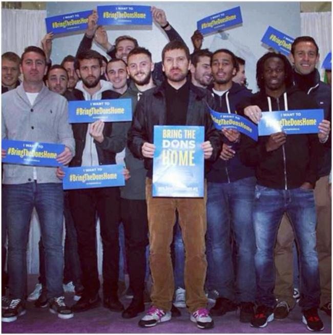 Fans launched the campaign during the Winter Wonderland celebrations in Wimbledon on Sunday which several AFC Wimbledon player's attended.