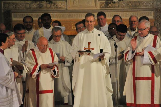 All change: Mgr Hudson and priests at Sacred Heart Church