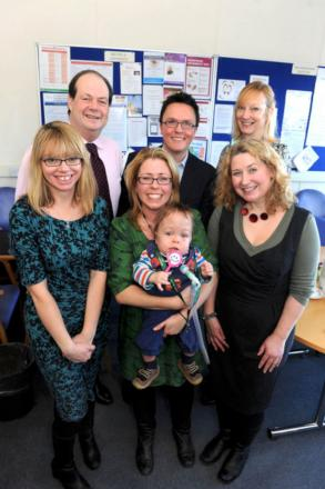 Ian and Louise Hunter with baby Hugh and MP Stephen Hammond at St George's Hospital.