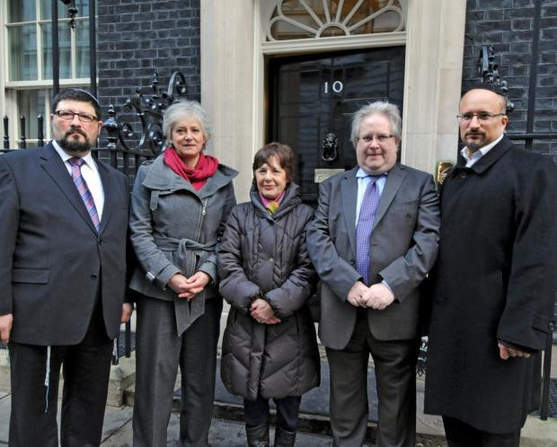 Members of the Jewish Council for Racial Equality outside Number 10