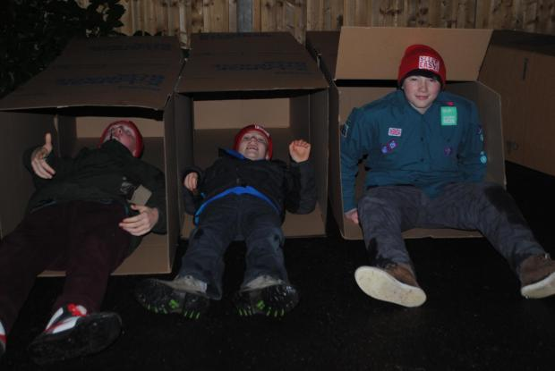 Scouts from the 23rd Camberwell troop at the Sleep Easy event - From left to right, Alex, 13, Alex, 12, and Peter, 14.