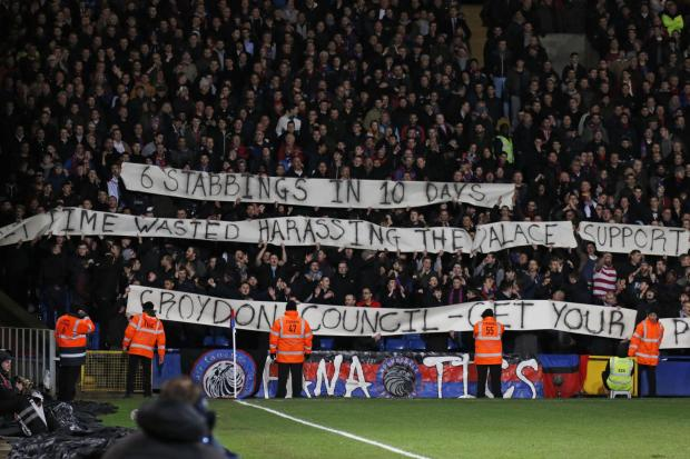 Wimbledon Guardian: The banner held up by the Holmesdale Fanatics during the game.