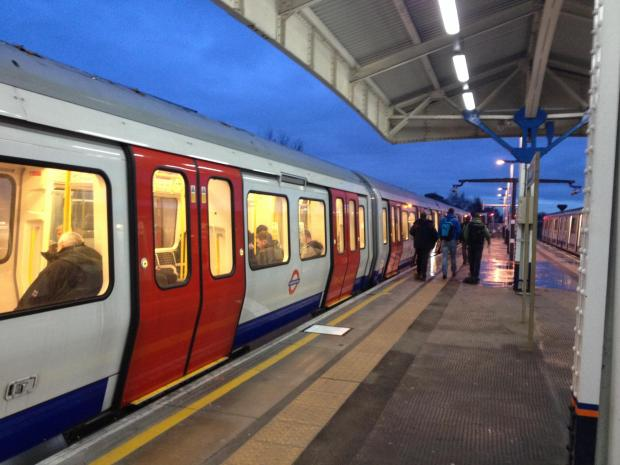 The new tube train waiting to depart from Wimbledon station this morning.