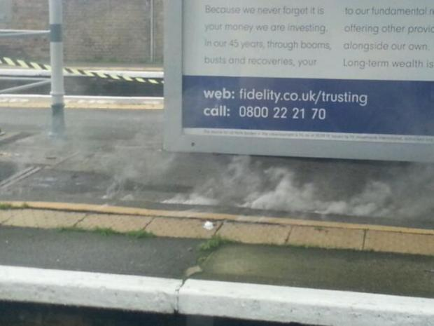 Smoke was seen coming from the platform at Sutton station. Picture (Twitter / heidiks1986)
