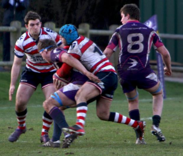 Wimbledon Guardian: Strong: Park defence halts a Loughborough attack          All pictures: David Whittam