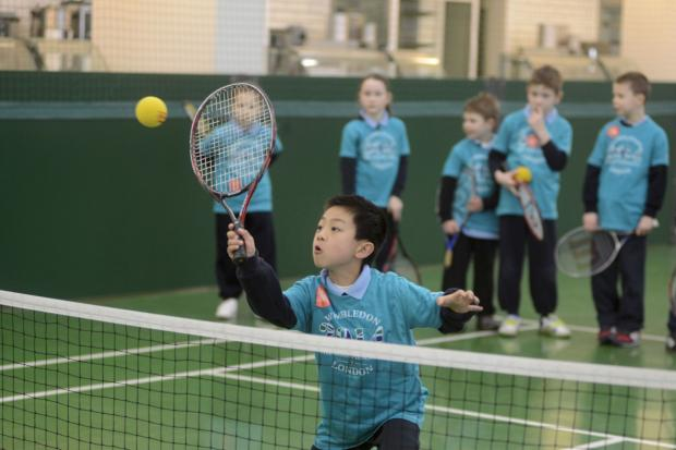 Young tennis stars at St John Fisher RC Primary School