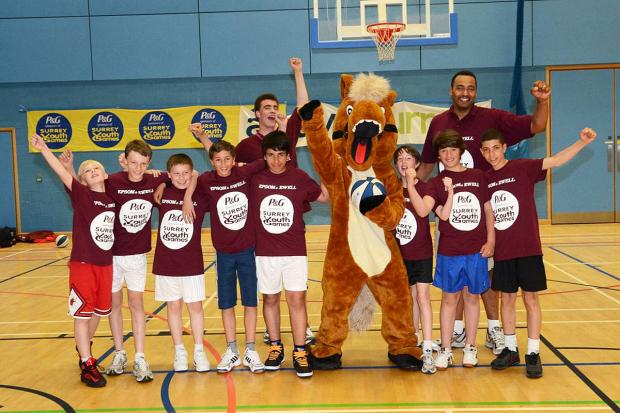 Winners: Team Epsom & Ewell celebrate winning the basketball competition at last year's Games