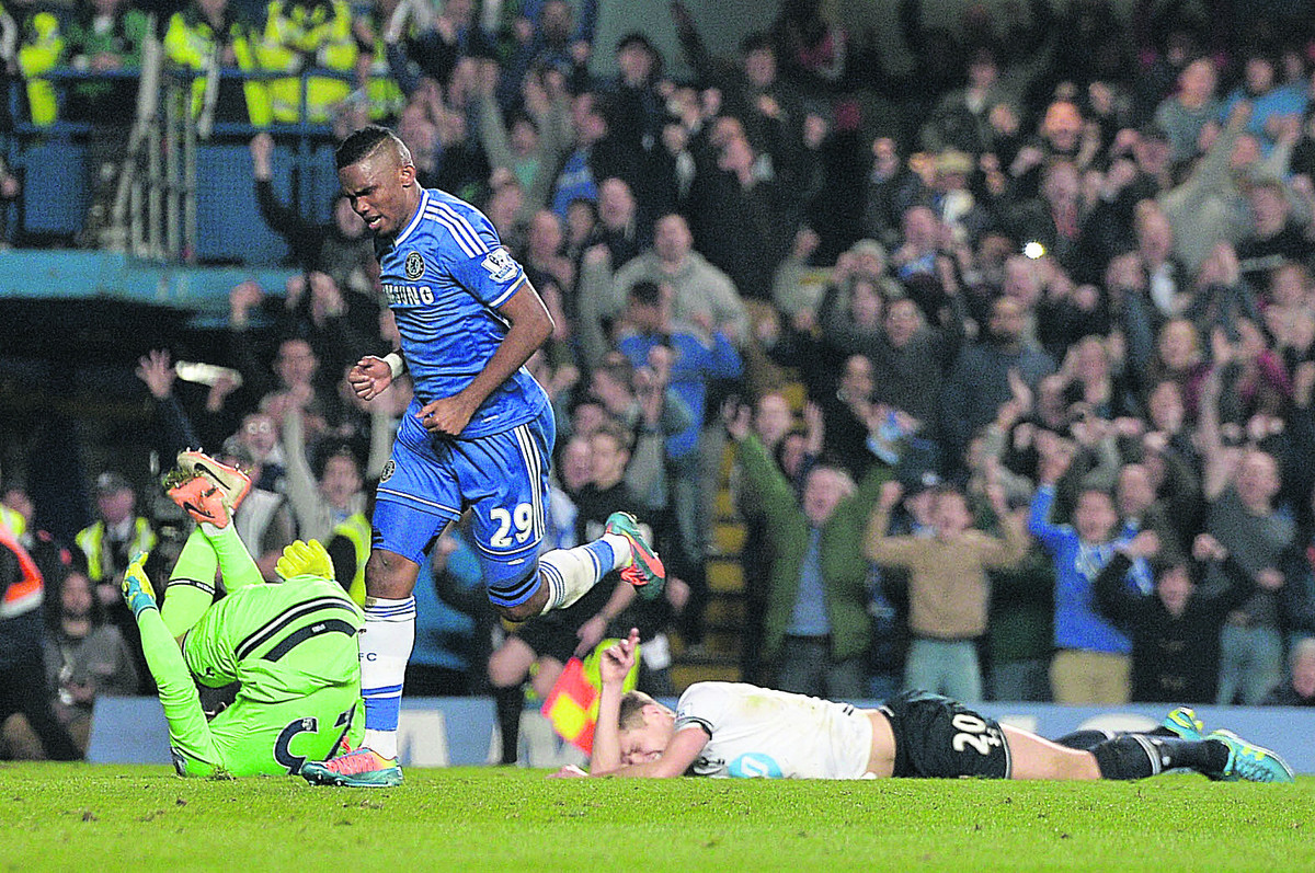 Samuel Eto'o celebrates scoring for Chelsea against Tottenham at the weekend.