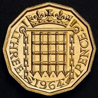 Wimbledon Guardian: The reverse side of a 12-sided three-pence piece which was in circulation from 1937 until decimalisation in 1971 (PA/HM Treasury)