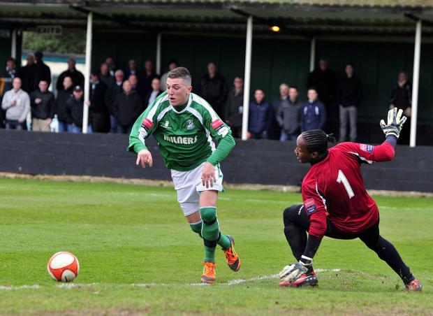 Final flourish: Greg Andrews, here in the green of Leatherhead, bagged the fourth goal last night in the green of Whyteleafe              SP63604
