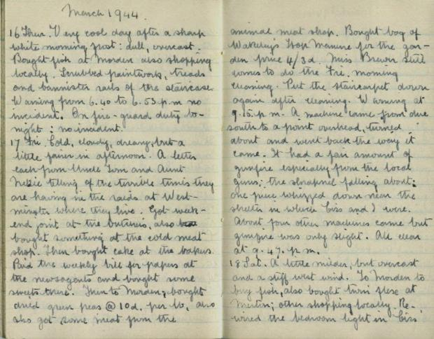 The entry in Fred French's diary from March 17