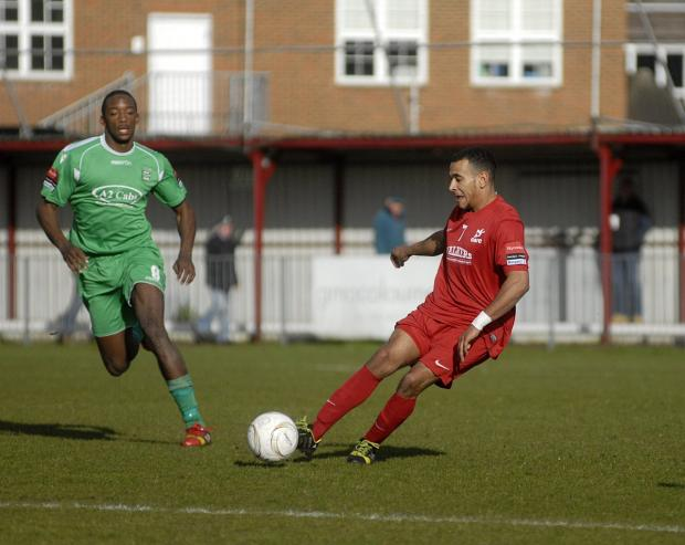 Tough day: Jordan Wilson's Robins were on the wrong end of a 4-0 scoreline at home to Thamesmead Town