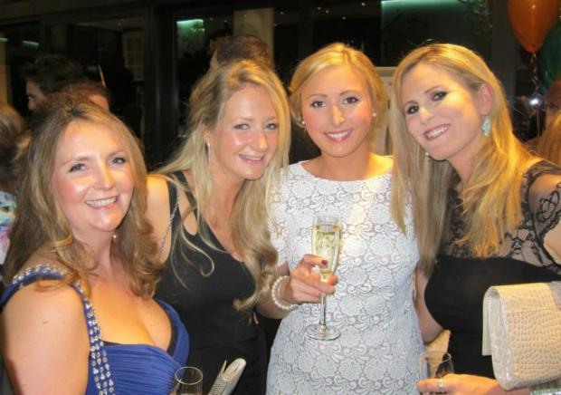 Wimbledon Guardian: Katie Paton, Jen Hesketh, Sasha Andrews and TV presenter Jenny Rudall enjoying the event