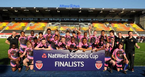 Winners: Graveney School's U15 rugby team celebrate reaching the final of the NatWest Schools Vase
