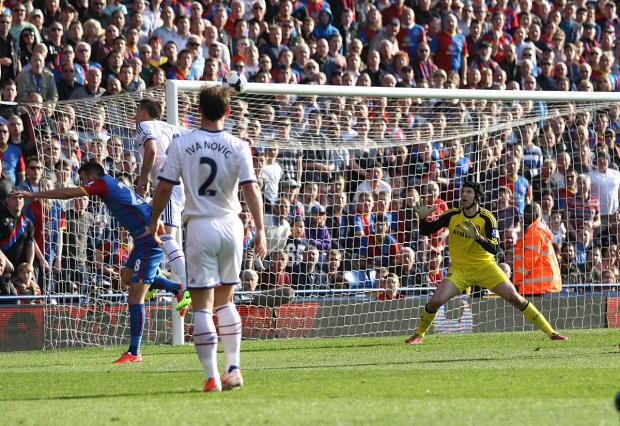 Chelsea's John Terry glances a header past Petr Cech for the own goal that gave Crystal Palace a much needed 1-0 win