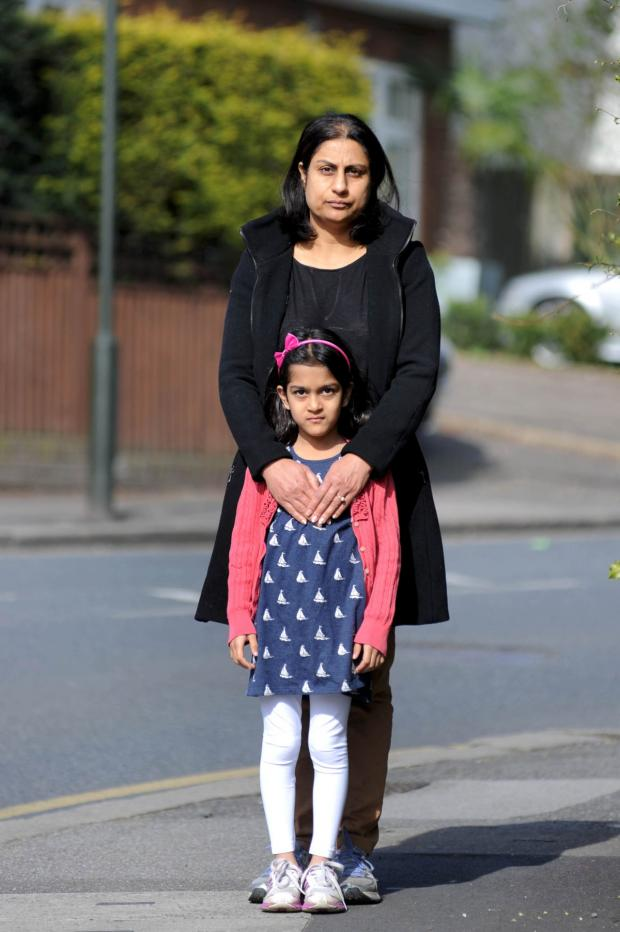 Wimbledon Guardian: Six-year-old Simran Saraon with her mother Suneet where the incident happened