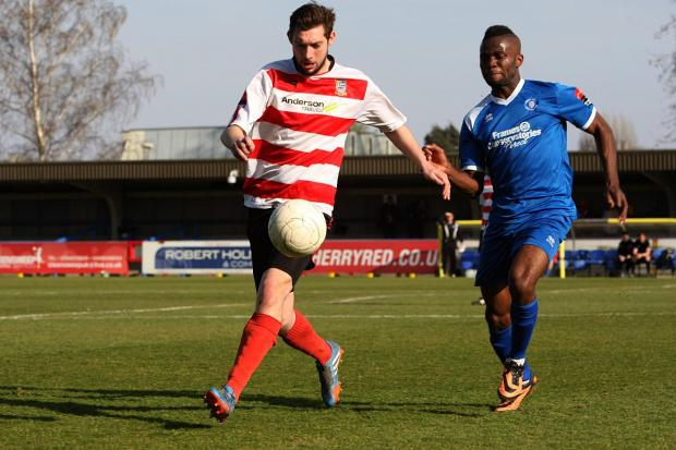 Wimbledon Guardian: Last action hero: Matt Drage hit a last-gasp winner for Kingstonian over Bury Town on Saturday             SP81840
