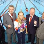 Wimbledon Guardian: Top Paralympic swimmer Susie Rodgers at Charlton Lido's relaunch, pictured middle with L-R Managing director of GLL Mark Sezans, David Golton of London Marathon Charitable trust,  Cllr Peter Kotz and Cllr Jim Gillman.