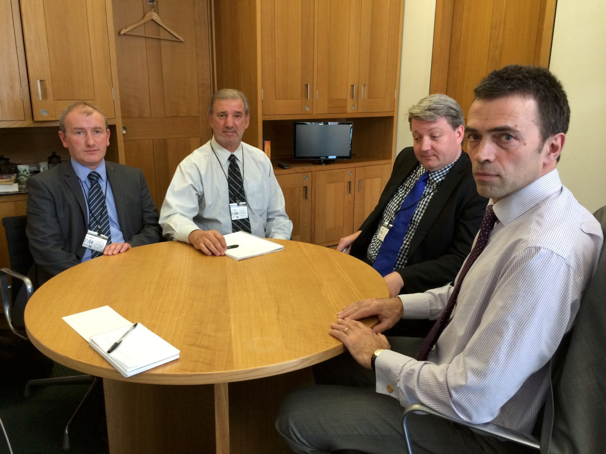 L-R: Ladbrokes representatives Ian Smyth, Chris Cerroni and Ciaran O'Brien with Tom Brake in Westminster