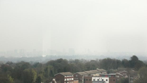 Wimbledon Guardian: Smog: a view over south London yesterday