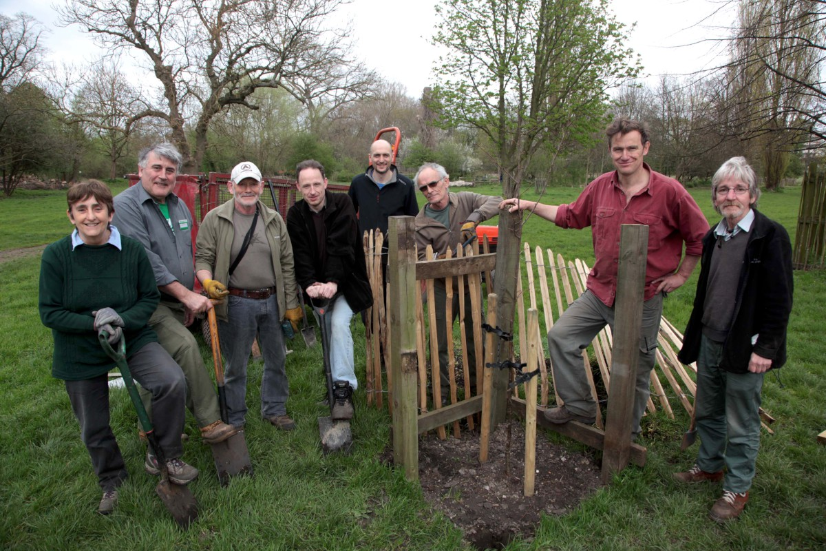Nick Allison with volunteers at Morden Hall Park