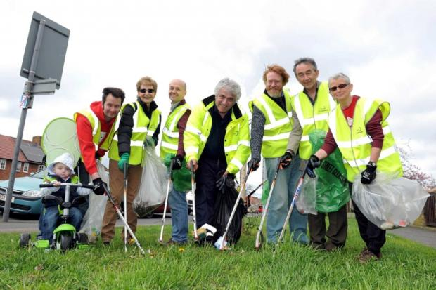 Cleaning up: Councillor Stephen Alambritis with litter-pickers