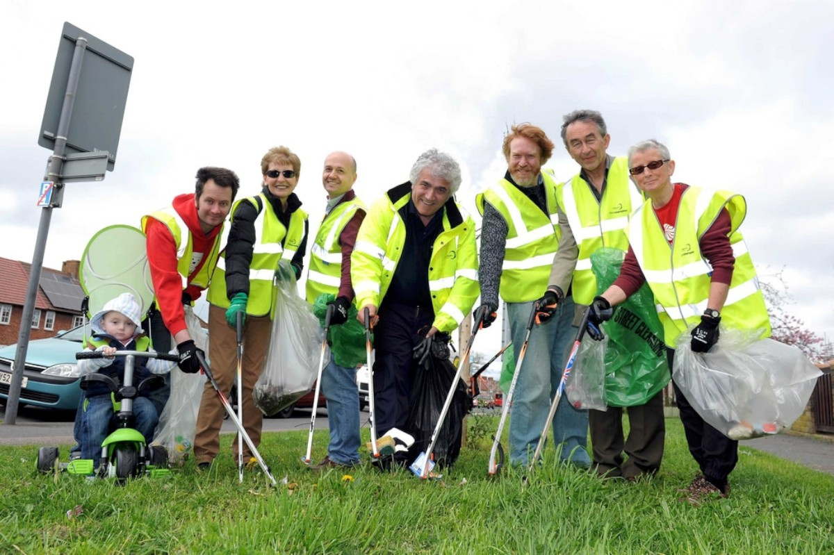 Cleaning up: Councillor Stephen Alambritis with litt