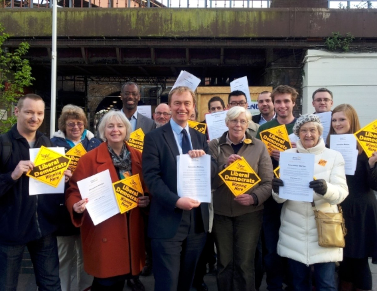 Tim Farron MP and councillor candidates at the manifesto launch in Raynes Park