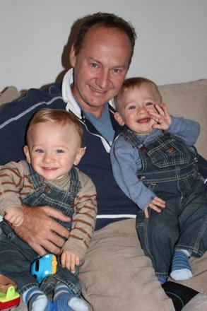 Father Gary Clarence with his two sons Ben and Max, aged 3, when they were found dead at the family's new Malden home