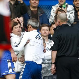 Wimbledon Guardian: Chelsea assistant head coach Rui Faria, left, tried to confront referee Mike Dean after Sunderland's Fabio Borini scored a penalty