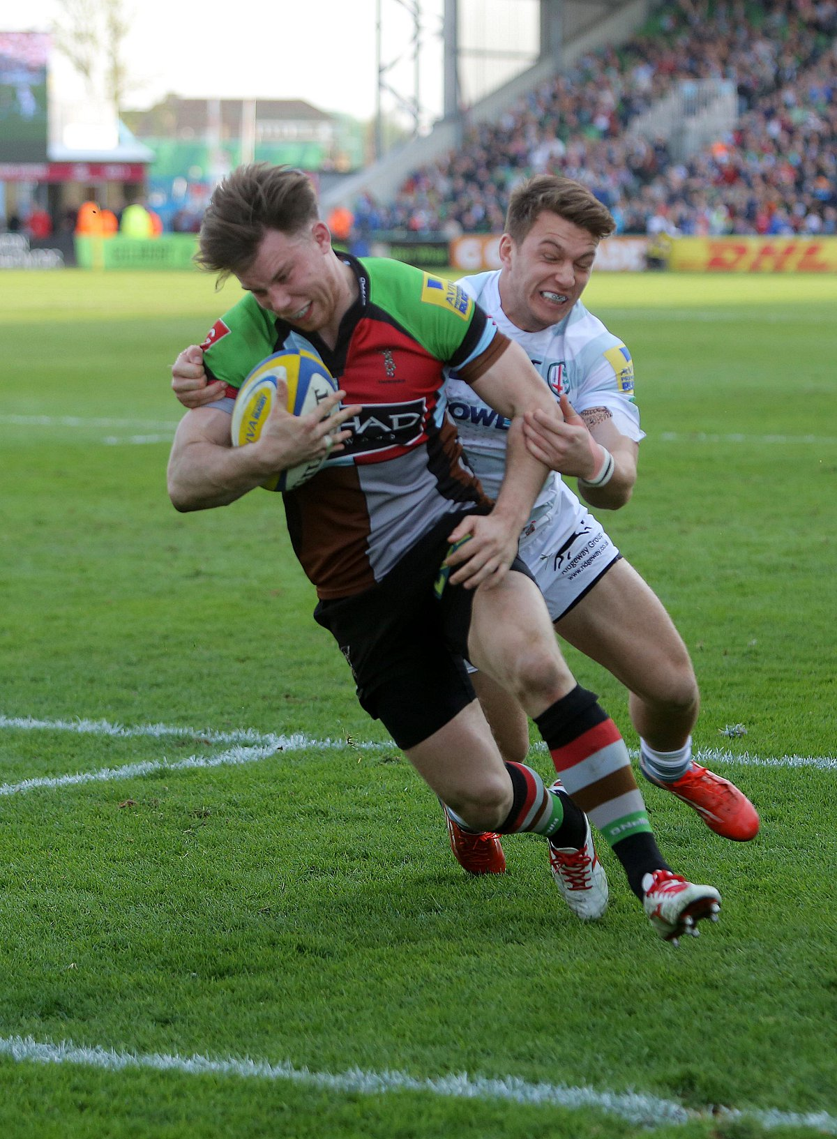 On his way: Quins winger Sam Smith could end the season as the Premiership's leading try scorer and be playing in the Championship next season