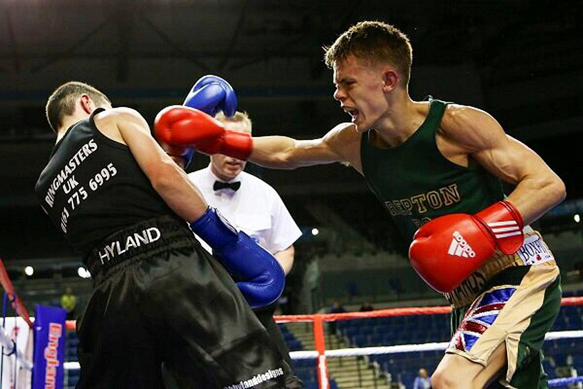 Raw power: Charlie Edwards beat Blane Hyland on a split decision en route to becoming the England National Finals flyweight