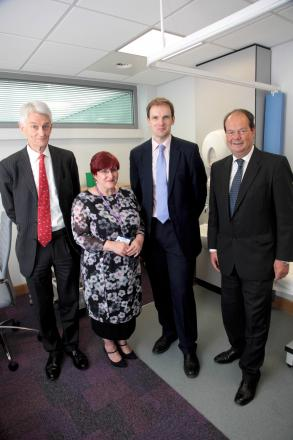 Dr Daniel Poulter with Brian Clark, chief executive of St Anthony's, MP Stephen Hammond and Joyce Heveran, manager