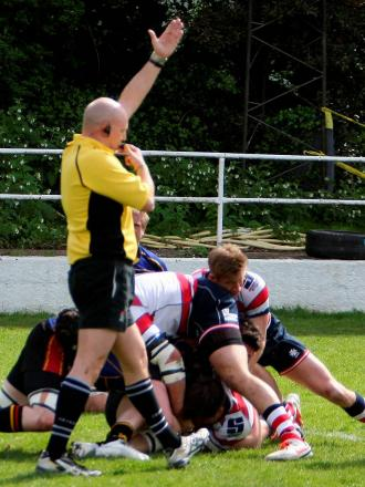 He's in there somewhere: Dom Shabbo gets Park up and running against Cinderford with the opening try 			        Picture: David Whittam