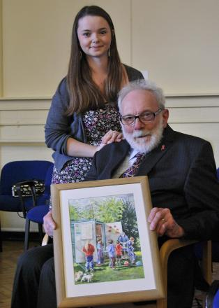 Surprised: Keith Allen with grand-daughter Bex Allen and the watercolour painting - Picture Credit Andy Smart