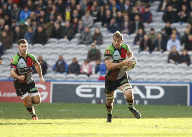 Leading the charge: Quins captain Chris Robshaw