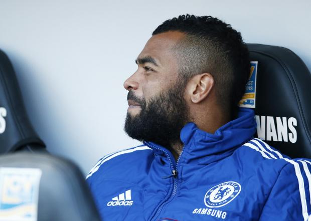 Ashley Cole on the bench, where he spent most of this season for Chelsea