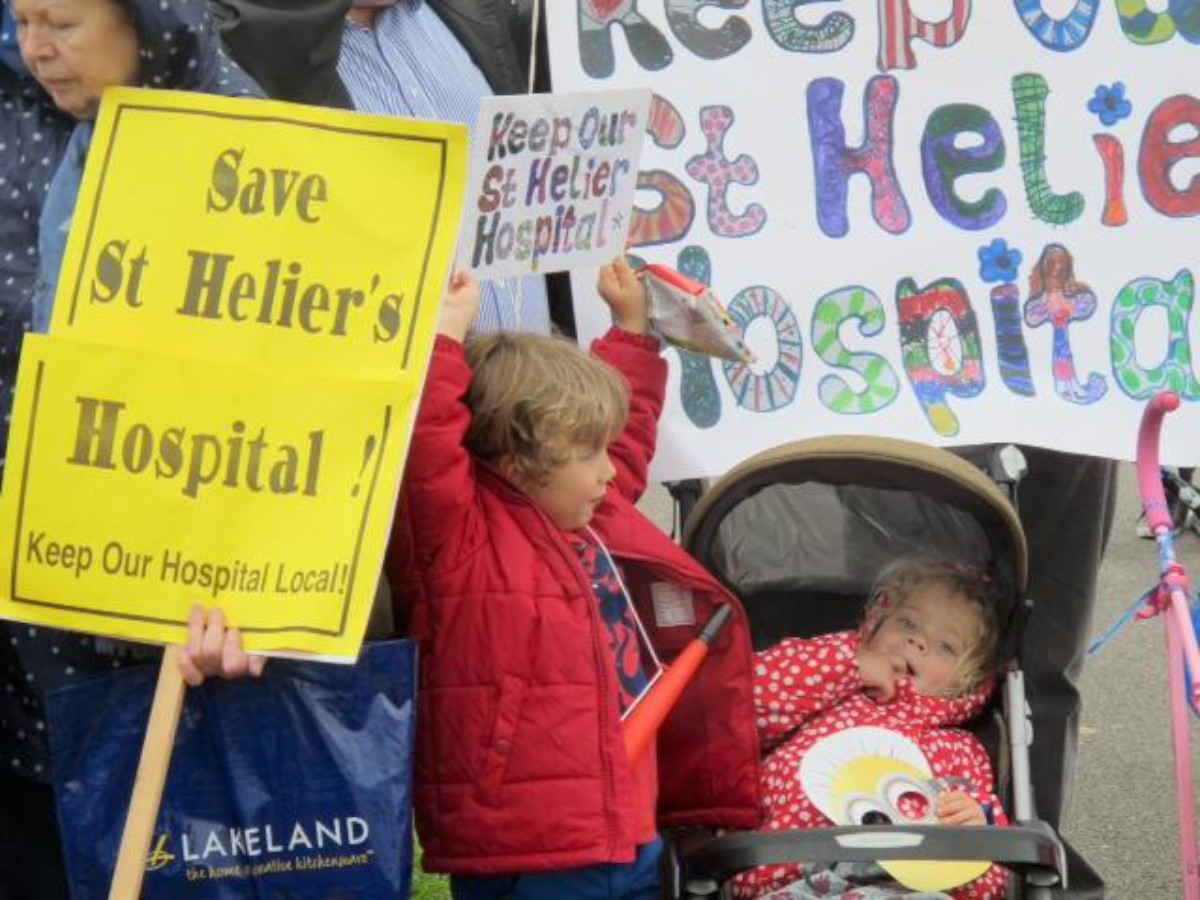 Young and old marched on St Helier Hospital on Saturday