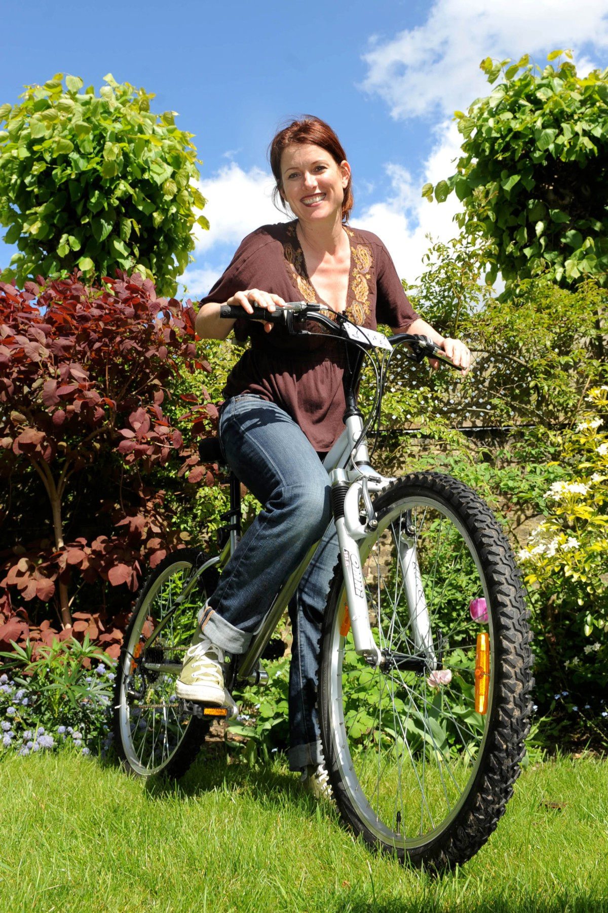 On two wheels: Gina Conway gets ready to take on the charity bike ride