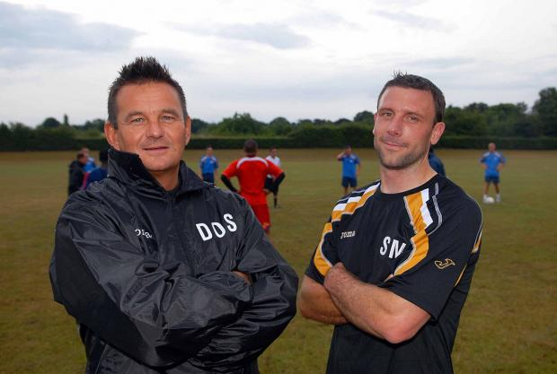 The way we were: Steve McKimm, right, made the step up to coaching with Paul Doswell, left, at Sutton United in 2009  					            SP27254