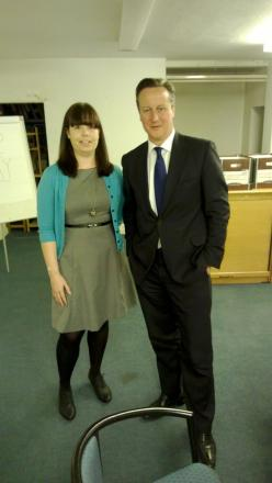 Becky Middleton with Prime Minister David Cameron who has pledged his support to Merton Conservatives